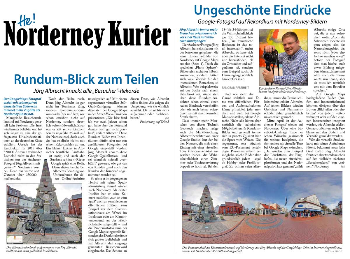 """Rundum-Blick zum Teilen"" im Norderney Kurier"