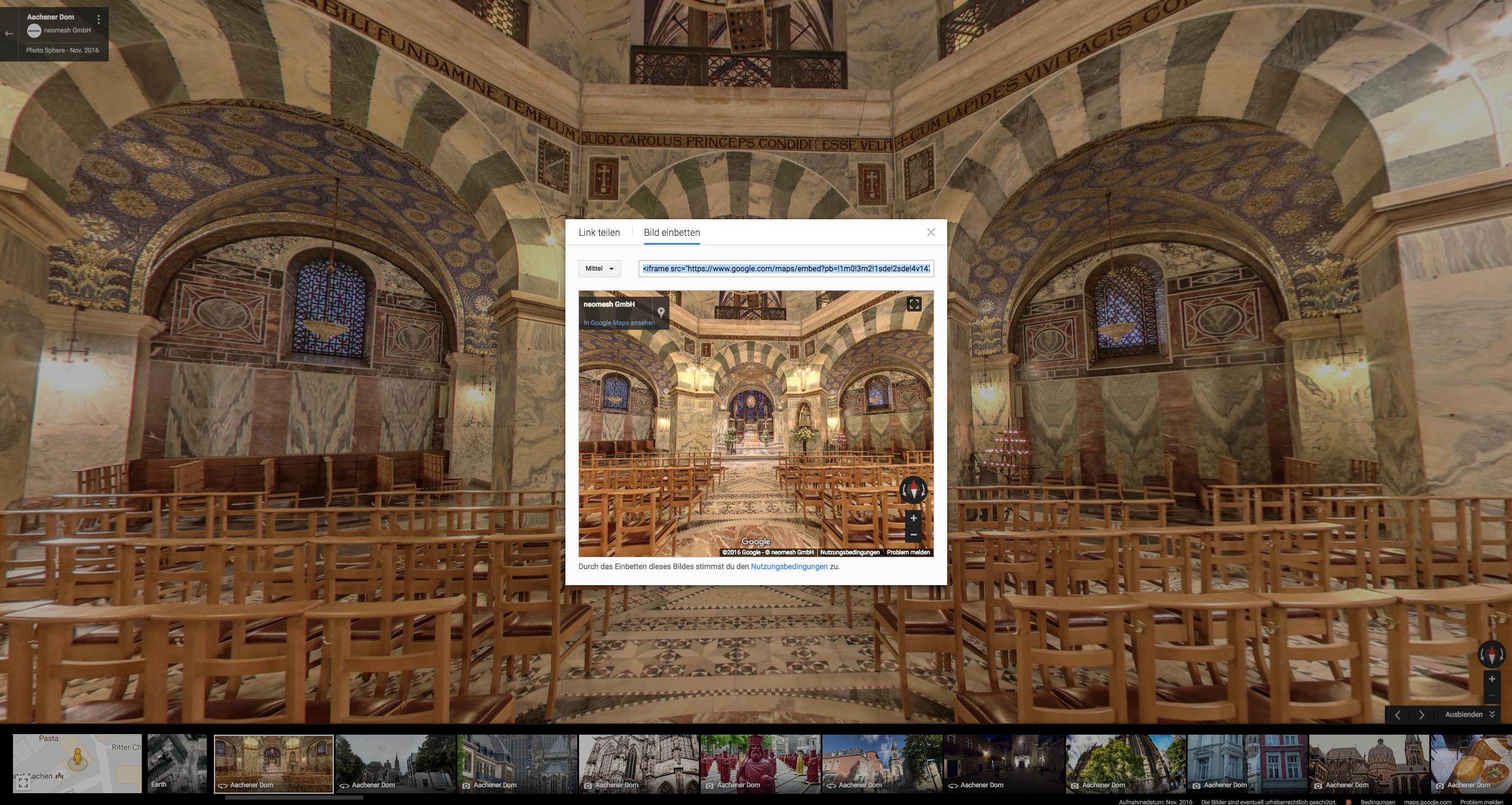 Virtuelle Rundgänge verlinken und einbetten